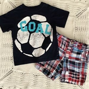 Children's Place Plaid Shorts With Soccer Tee Set